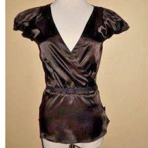 Zara Basic Silky Brown Dressy Top Medium